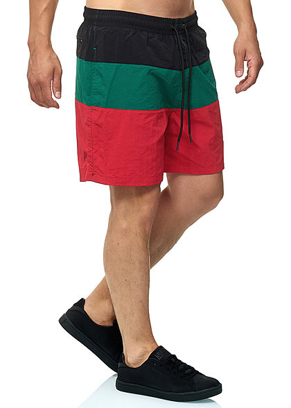 Seventyseven Lifestyle TB Herren Colorblock Swim Shorts grün rot schwarz