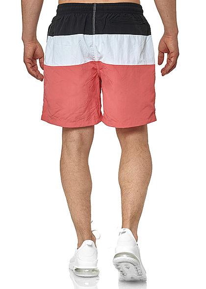 Seventyseven Lifestyle TB Herren Colorblock Swim Shorts coral pink weiss schwarz