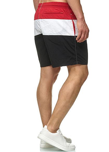 Urban Classics Herren Colorblock Swim Shorts schwarz rot weiss