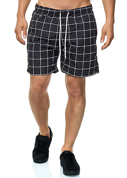 Seventyseven Lifestyle TB Herren Checked Swim Shorts schwarz weiss