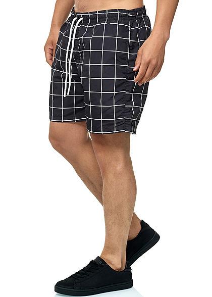 Seventyseven Lifestyle TB Herren Checked Swim Shorts schwarz weiss