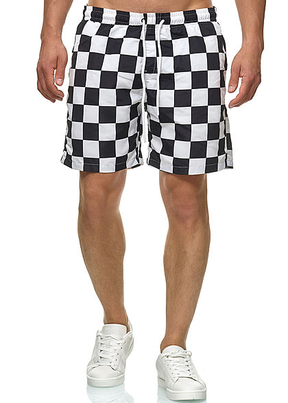 Seventyseven Lifestyle TB Herren Checked Swim Shorts chess schwarz weiss
