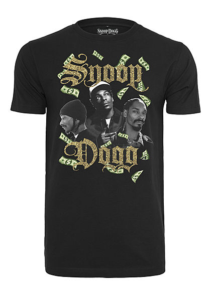 Merchcode TB Herren T-Shirt Snoop Dollar Print schwarz gold