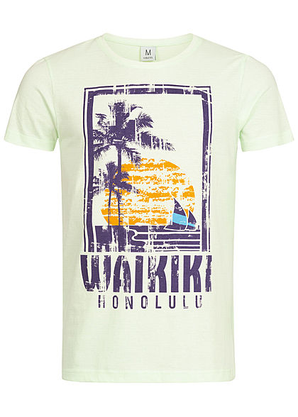 Eight2Nine Herren T-Shirt Waikiki Print By Sublevel hell grün
