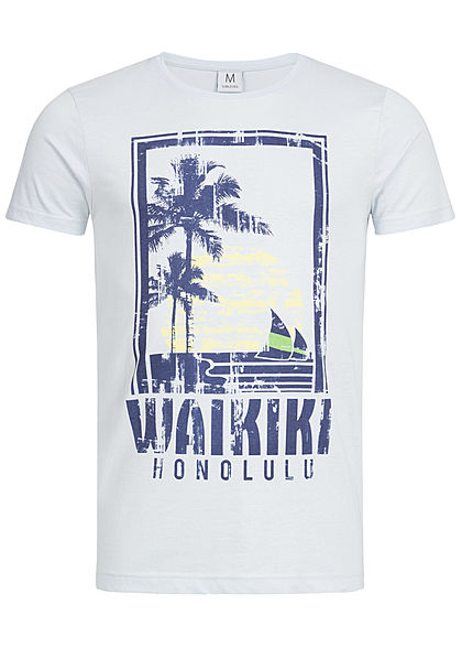 Eight2Nine Herren T-Shirt Waikiki Print By Sublevel hell blau