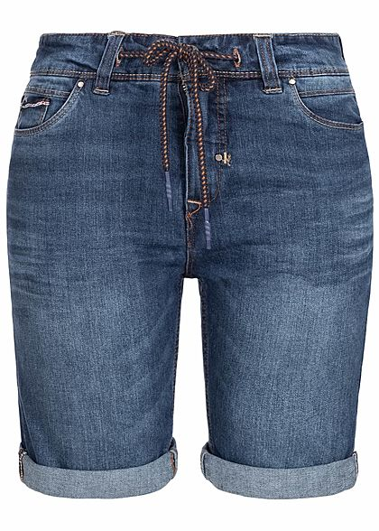 Eight2Nine Herren Bermuda Jeans Shorts 5-Pockets by Sublevel medium blau denim