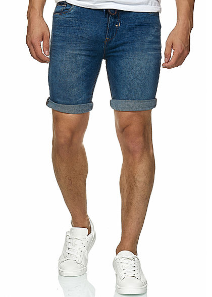 Eight2Nine Herren Bermuda Jeans Shorts 5-Pockets by Sublevel medium blau denim