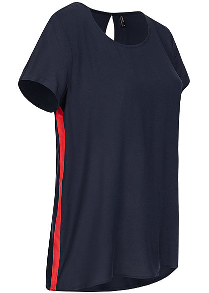ONLY Damen Striped Blouse Shirt NOOS night sky navy blau rot