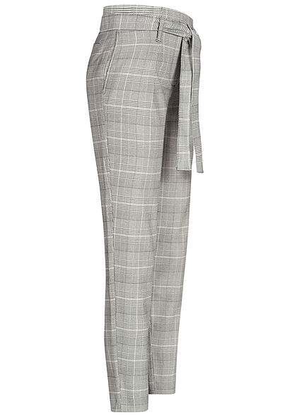 ONLY Damen Checked Paperbag Pants 2-Pockets Belt schwarz cloud dancer weiss