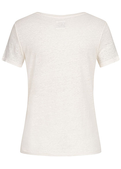 ONLY Damen Linen T-Shirt cloud dancer weiss