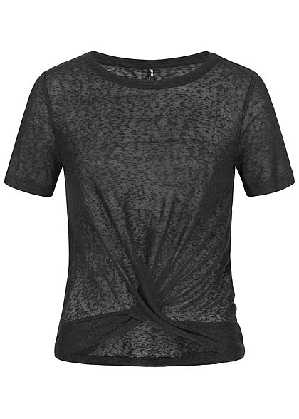 ONLY Damen Twist Front T-Shirt schwarz