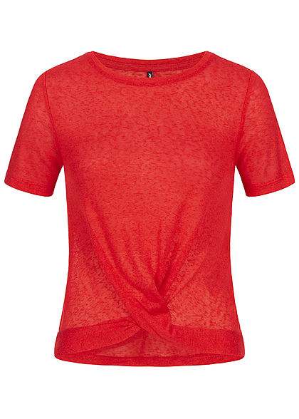 ONLY Damen Twist Front T-Shirt chinese rot