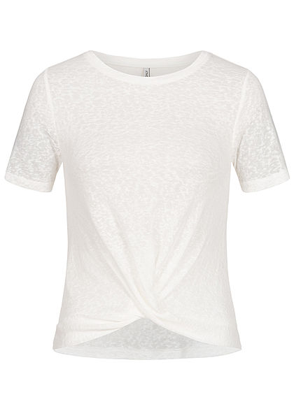 ONLY Damen Twist Front T-Shirt cloud dancer weiss