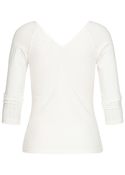 ONLY Damen 3/4 Arm V-Neck Longsleeve Struktur-Stoff cloud dancer weiss