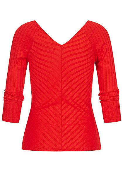 ONLY Damen 3/4 Arm V-Neck Longsleeve Struktur-Stoff fiery coral dunkel pink