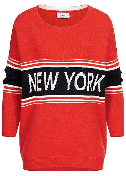 ONLY Damen Oversized Knit Pullover New York Print fiery rot schwarz