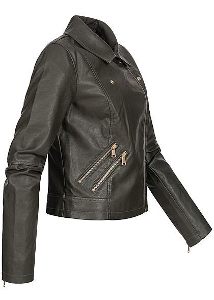 ONLY Damen Fake Leather Jacket 2-Pockets peat dunkel grün
