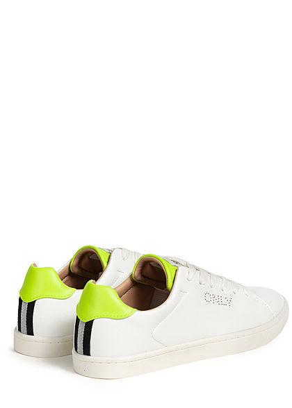 ONLY Damen Flatform Neon Sneaker weiss gelb