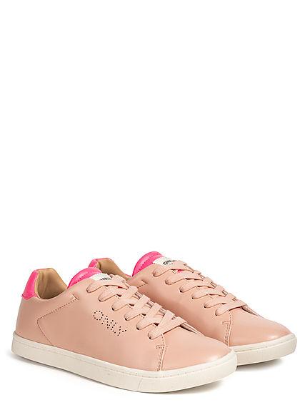 ONLY Damen Flatform Neon Sneaker rosa pink