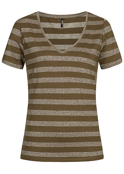 ONLY Damen Striped T-Shirt Glitter beech grün silber