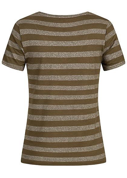 ONLY Damen Striped T-Shirt Glitter beech grün silber