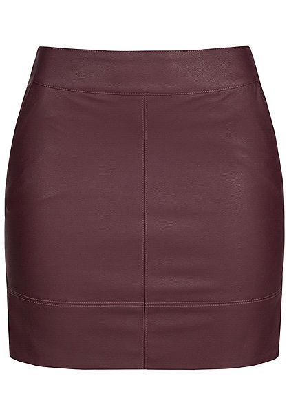 ONLY Damen Fake Leather Skirt Zipper 2-Pockets NOOS port royale bordeaux rot