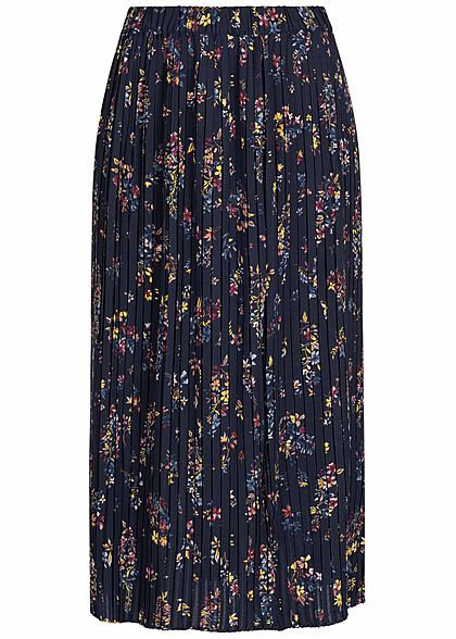 ONLY Damen Midi Plisse Skirt Flower Print night sky navy blau