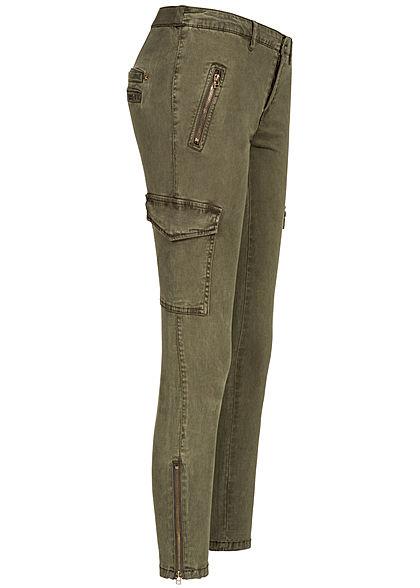 ONLY Damen Cargo Jeans Zipper 4-Pockets tarmac olive grün