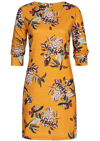 ONLY Damen 3/4 Sleeve Midi Dress Flower Print golden gelb