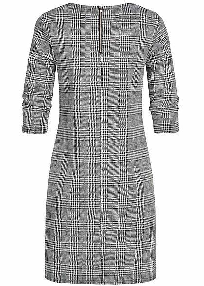 ONLY Damen NOOS 3/4 Arm Mini Kleid Karo Muster Zipper schwarz weiss