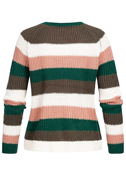 ONLY Damen Striped Knit Pullover beluga cloud dancer weiss multicolor