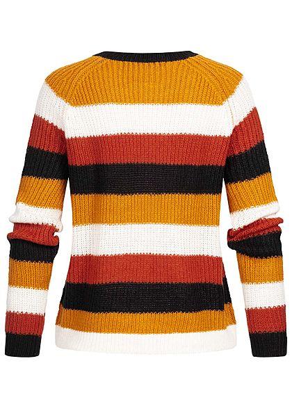 ONLY Damen Striped Knit Pullover golden oak cloud dancer weiss multicolor