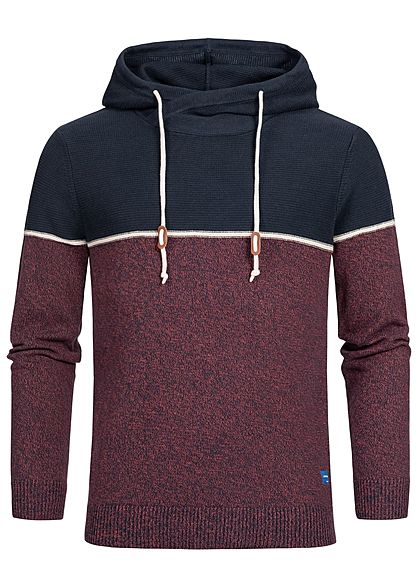 Jack and Jones Herren 2-Tone Knit Hoodie brick rot blau