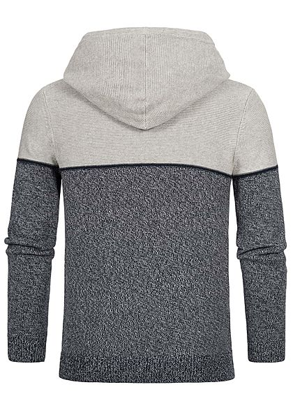 Jack and Jones Herren 2-Tone Knit Hoodie hell grau melange dunkel grau