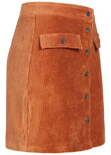 ONLY Damen Cord Skirt Buttons Front High-Waist ginger bread braun