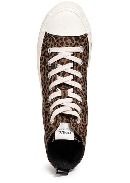 ONLY Damen High Canvas Sneaker Leo Print beige braun
