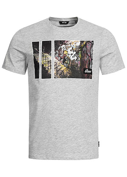 ONLY & SONS Herren Frontprint T-Shirt Regular Fit hell grau melange