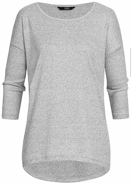 ONLY Damen 3/4 Sleeve Sweater Pullover hell grau melange