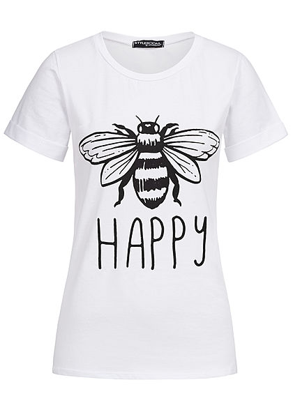 Styleboom Fashion Damen T-Shirt Bee Happy Print weiss
