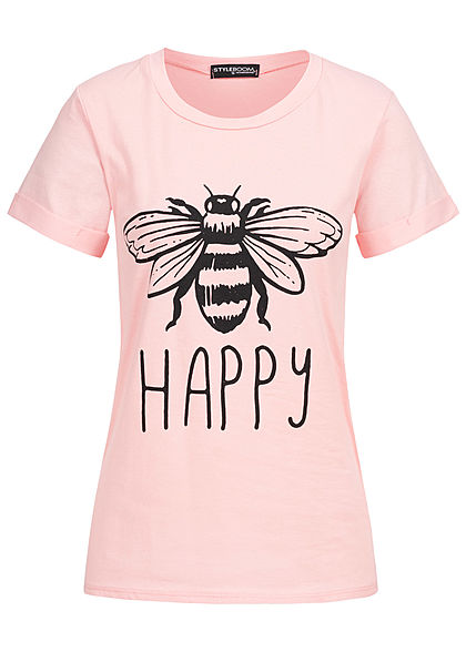Styleboom Fashion Damen T-Shirt Bee Happy Print rosa