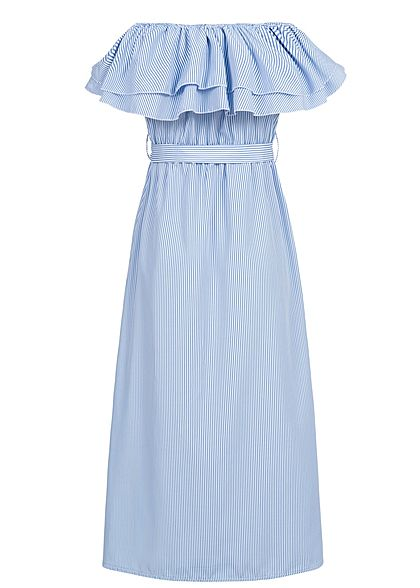 Styleboom Fashion Damen Striped Off-Shoulder Maxi Dress Belt Buttons blau weiss