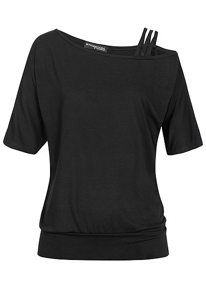 Styleboom Fashion Damen Asymetric Strap Shirt schwarz