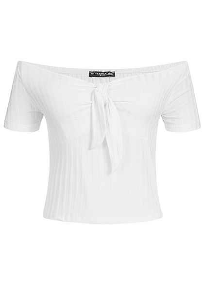 Styleboom Fashion Damen Cropped Shirt Bow weiss