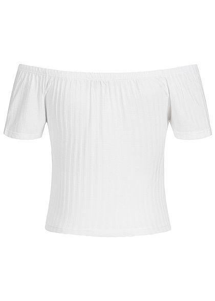 Styleboom Fashion Damen Cropped Shirt Bow weiss