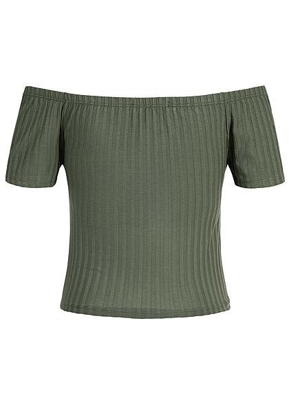 Styleboom Fashion Damen Cropped Shirt Bow military grün