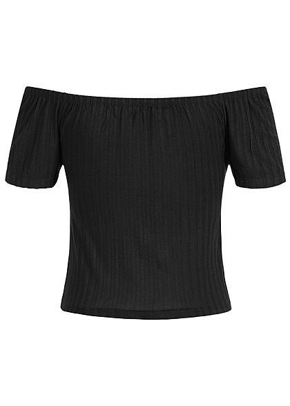 Styleboom Fashion Damen Cropped Shirt Bow schwarz