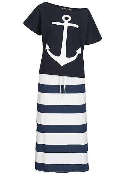 Styleboom Fashion Damen 2er-Set Anchor Print Shirt & Striped Skirt navy blau weiss