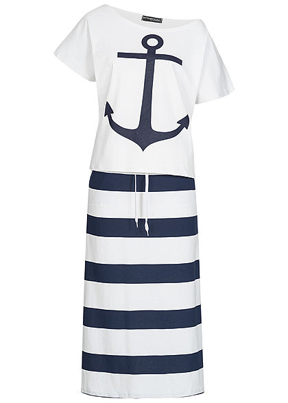 Styleboom Fashion Damen 2er-Set Anchor Print Shirt & Striped Skirt weiss navy blau