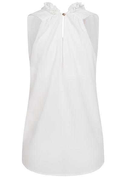 Styleboom Fashion Damen 2-Layer Chiffon Frill Crinkle Top weiss
