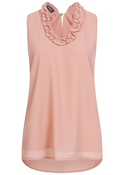 Styleboom Fashion Damen 2-Layer Chiffon Frill Crinkle Top old rosa